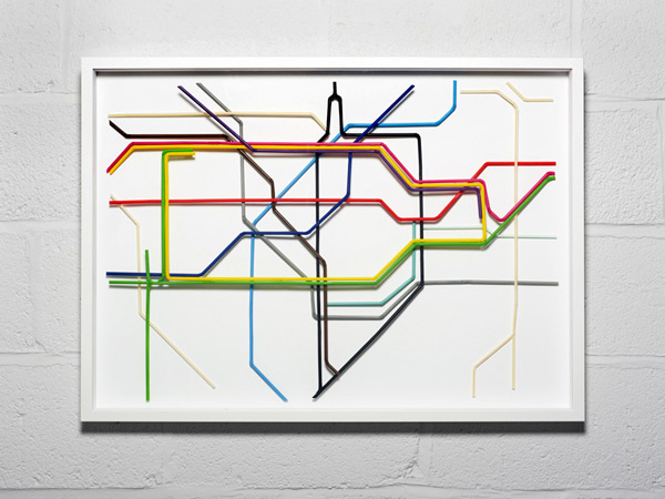 Drinking straw Tube Map by Kyle Bean